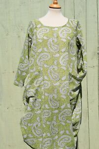 Nila Rubia Light Cotton Green Paisley Roshan Tunic Dress Pockets 3/4 Sleeve SALE