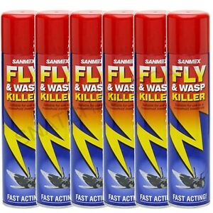 6 x SANMEX FLY & WASP KILLER INSECTICIDE FAST ACTING AEROSOL SPRAY 300ml