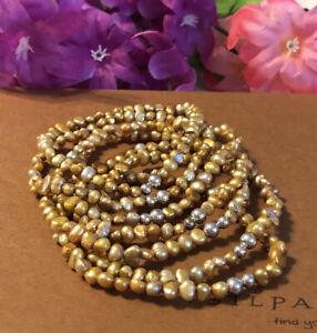 Silpada B1369 Copper Freshwater Pearl Stretch Bracelet Full Set Of 7