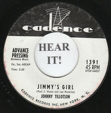 Johnny Tillotson TEEN 45 (Cadence PROMO 1391) Jimmy's Girl/His Tue Love Said