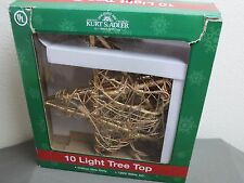 Kurt Adler 10 Light Indoor Rattan Gold Star Treetop christmas tree topper color