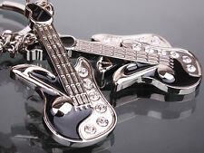 HJ050 Guitar Fashion Lover Rhinestone Crystal Key Ring Chain Cute Keychain Gift