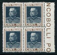 1927 Regno 50 cent. effige blocco 4 nuovo centrato ** MNH