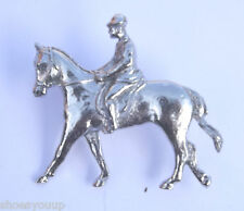 Horse & Rider Dressage Handcrafted in Solid Pewter In The UK Lapel Badge