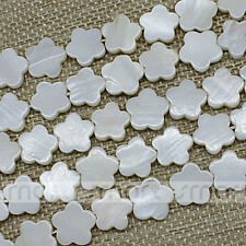 "White Natural Shell Flower Shape Loose Beads 15.5"" Inches Strand 15mm"