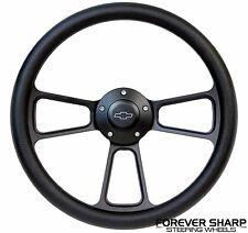 "1960-69 Chevy Truck Pickup 14"" Aluminum Black Steering Wheel w/ Billet Adapter"