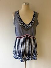 OUI MOMENTS BLUE SEQUIN TRIM STRIPED SLEEVELESS TOP SIZE 16