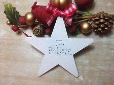 Christmas Star Tree Ornament  Decoration Handmade Wooden I Believe Star
