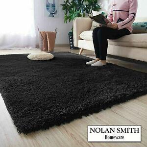 Fluffy Rug Black 120x170cm 4'x5'6'' AntiSlip Shaggy Carpet Mat Living Room Floor