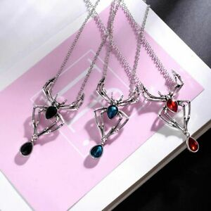 Halloween Gothic Crystal Spider Necklace for Women Men Punk Cool Necklace Hot