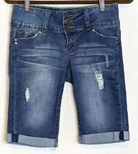 YMI WannaBettaButt Sz 5 Mid Rise Stretch Push-Up Bermuda Shorts Distressed Blue