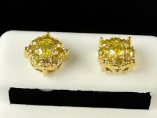 10K MENS LADIES YELLOW GOLD 8 MM CANARY DIAMOND CLUSTER STUD EARRINGS 1.03 CT
