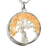 """CHARGED Citrine Tree of Life Perfect Pendant™ REIKI 20"""" Silver Chain"""