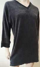SONIA RYKIEL anthracite en coton mélangé gris velours col V à manches longues haut tunique XS