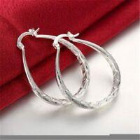 Earrings Oval Pierced Etched Hoop 925 Silver Plated 1-1.5 Inch Women's