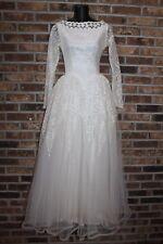 Vintage~1950's~Weddi ng Dress~White Ivory~Lace Tulle~Full Length~Long Sleeve~Xs~S