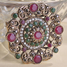 VINTAGE INSPIRED ANTIQUE GOLD PLATED RED AND GREEN RHINESTONE BROOCH OR PENDANT