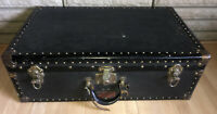 Vintage Indestructo Trunk Luggage suitcase brass tone rivets accents inside tray