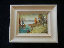 Cuadro al óleo con Marco de madera,pintado a mano,Lago Bota mi Artículo nº 03