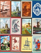 12 Single Swap Playing Cards Dutch Windmills Scenery Vintage Deco Lot