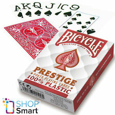 BICYCLE PRESTIGE PLAYING CARDS 100% PLASTIC DECK JUMBO INDEX RED POKER NEW