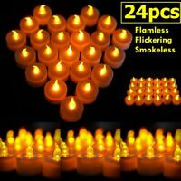24/48PCS Electronic Flameless LED Tea Light Candles Flickering Wedding Party