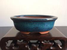 Oval Chinese Yixing Mame Bonsai Pot Dark Green Glazed 10x6.5x3.5cm