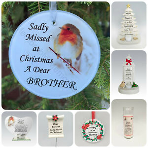 Brother Christmas Memorial Tributes - Xmas Tree Robin Bauble Candle Book Plaque