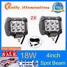 "2X 4"" 18W CREE LED Work Light Bar Spot Offroad 4WD Fog SUV Driving Lamp+Wiring"