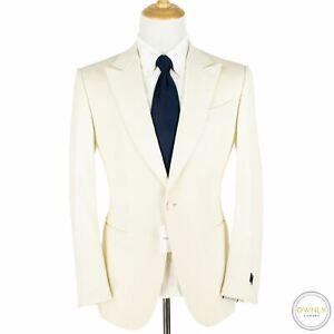 NWT $3095 Zegna Venezia Cream Wool Grosgrain Trim Peak Smoking Dinner Jacket 42R