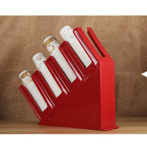 Coffee Cup Office Lid Holder Dispenser Organizer Counter Display Red