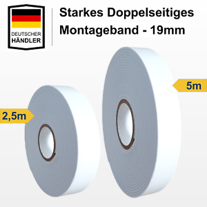 3x Doppelseitiges Klebeband 5m x 10mm Abnehmbares Spurloses Montage Klebeband