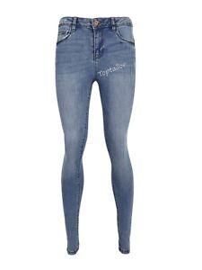 Ladies Ex ChainStore Ripped High Waist Super Skinny Denim Spandex Jeans Trouser