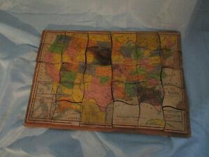Vintage Milton Bradley Outline United States Map Wooden Puzzle