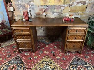 Retro Mid Century Bamboo & Cane Double Pedestal Desk~Drawers~Chinoiserie