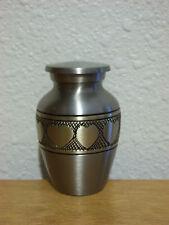 Lovely Pewter w/Bronze Hearts Solid Brass Keepsake Token Mini Urn w/Velvet Bag