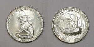 1920 PILGRIM SILVER HALF DOLLAR GEM BU LOOK! INV#324-37