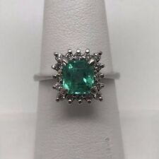 New 14k White Gold Emerald Cut Colombian Emerald with Diamonds Ring