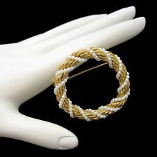 Vintage Circle Brooch Pin Mid Century Classic Faux Pearl Braided Gold Plated