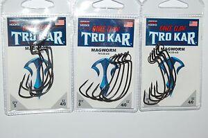 3 packs eagle claw tro kar trokar magworm worm hook tk120-4/0 size 4/0
