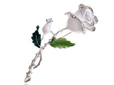 Silver Tone White Enamel Painted Rhinestone Rose Flower Fashion Pin Brooch