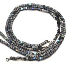 """Natural Gem Strong Blue Flash Labradorite 4.5MM Smooth Cube Beads Necklace 17"""""""