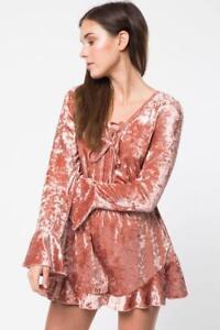 Velvet Blush Lace Up Neck Party Ruffle Dress Shorts Playsuit 291 mv Romper S M L