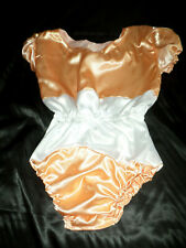 """ADULT BABY SISSY ALL-IN-ONE PEACH + WHITE SATIN ROMPER 46"""" CHEST SLEEPSUIT"""