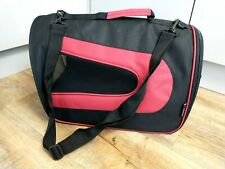Barkhaus Collapsible Pet Carrier Black / Red Small Dog Puppy Cat Over Shoulder