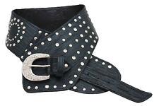 Women Wide Western Faux Leather Black Belt Silver Bling Buckle Plus Size L XL