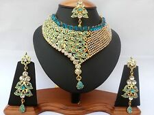 INDIAN BRIDAL PARTYWEAR DELICATE JEWELLERY SET TURQUOISE GOLD NEW - AQ/177