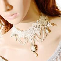 1 pc Gothic White Pearl Pendant Lace Flower Choker Clavicle Chain Necklace Gift