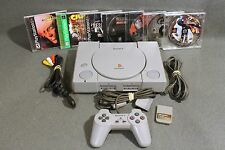 Sony Playstation 1 PS1 Console - Crash Bandicoot, Resident Evil & 5 More Games