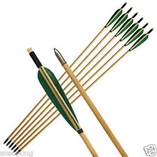 6Pcs Green Turkeys Feather  Wooden Arrows Shaft for Archery Recurve Bow Longbow
